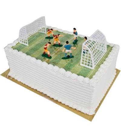 Gâteau formé terrain de foot